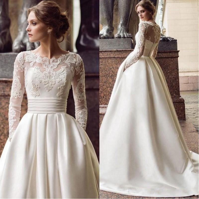 Novo design barato uma linha vestidos de casamento cetim lace apliques faixa ilusão de mangas compridas sexy botão volta plus tamanho formal vestidos de noiva formais