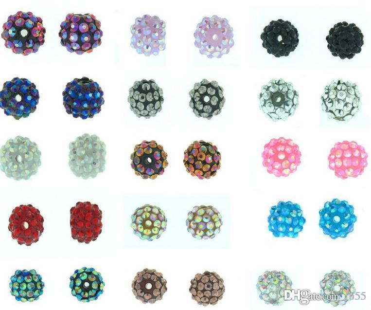 cristallo multicolore misto bianco borda sfera Strass resina epossidica Chunky 10mm 12mm 100 pc / lotto di pallacanestro wive braccialetto perline Finding f2424