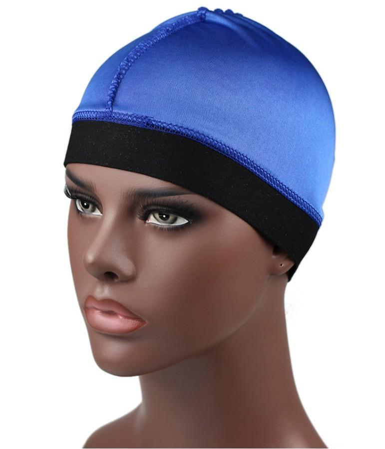 7 seleção de cores Cap Dome de seda das mulheres dos homens Ampla cap Banda Stretchy Cap peruca Helmet Liner motociclista Beanie Hat Turban Hat Wig
