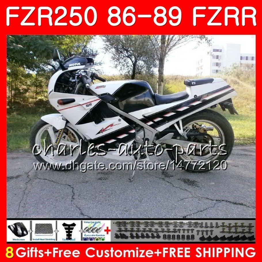 Корпус для YAMAHA FZRR 250 FZR 250R FZR 250 1986 1987 1988 1989 123HM.55 fzr250rr белый черный горячий fzr250r FZR-250 fzr250 86 87 88 89 обтекатель