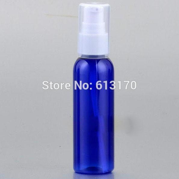 Ücretsiz Kargo 60ML Basın Pompa şişeler PET Şampuan Losyon şişe Mavi Boş Numune Şişeleri Kozmetik ambalaj kutuları 50pcs / lot
