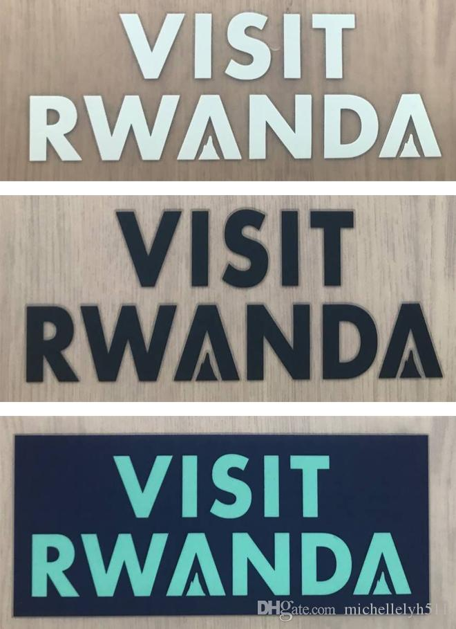 VISIT RWANDA printing sponsor logo on soccer jersey sleeves printed stickers impressed plastic advertising badges stamping premier patches