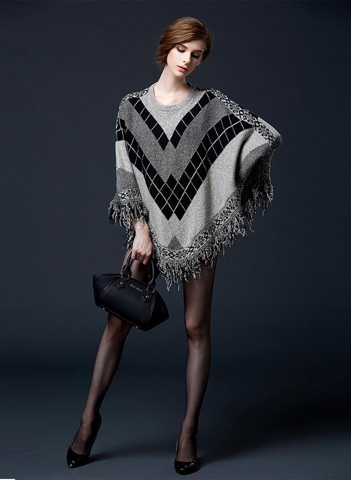 2019 가을 여성 스웨터 배트 위킹 니트웨어 슬리브 술 술사 루스 풀오버 블라우스 불규칙한 망토 판초 케이프 편직 스웨터