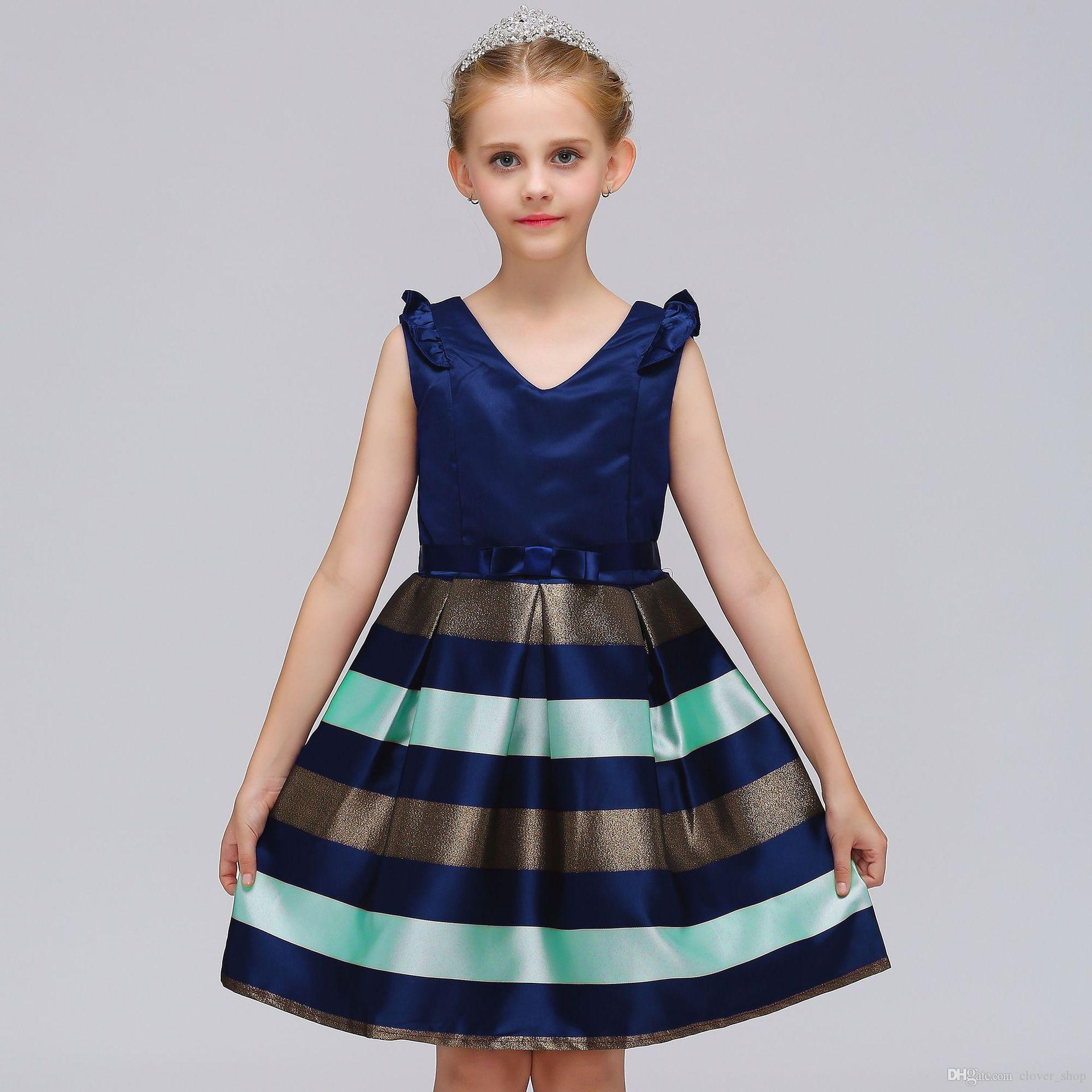 Sweety Girls Infant Toddler Kids Clothes Stripe Bow Princess Outfits Dress Gift