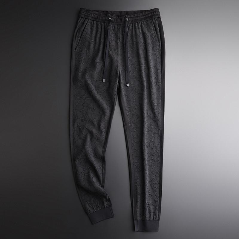 Negro de lujo Anverso Empalme Diseño Estiramiento Harem verano nuevo elástico de la cintura de los pantalones ocasionales de los hombres Pantalones T200507