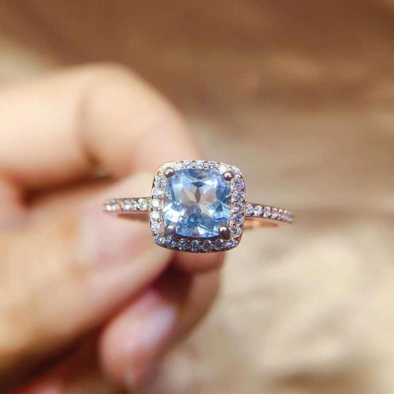 Natürliche und Real Schmuck Topaz 100% 925 Sterlingsilber-blaue Edelstein-Ring-Hochzeits-Verpflichtungs-Fine Jewelry