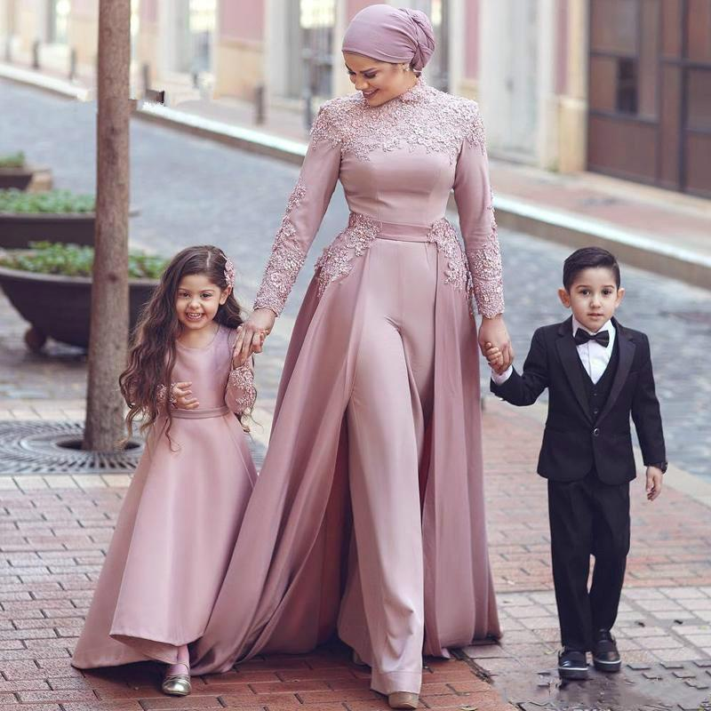 Dusty Pink Muslim Prom Jumpsuit with Detachable Train 2020 High Neck Lace Chiffon Long Sleeve Arabic Dubai Evening Pant Suit