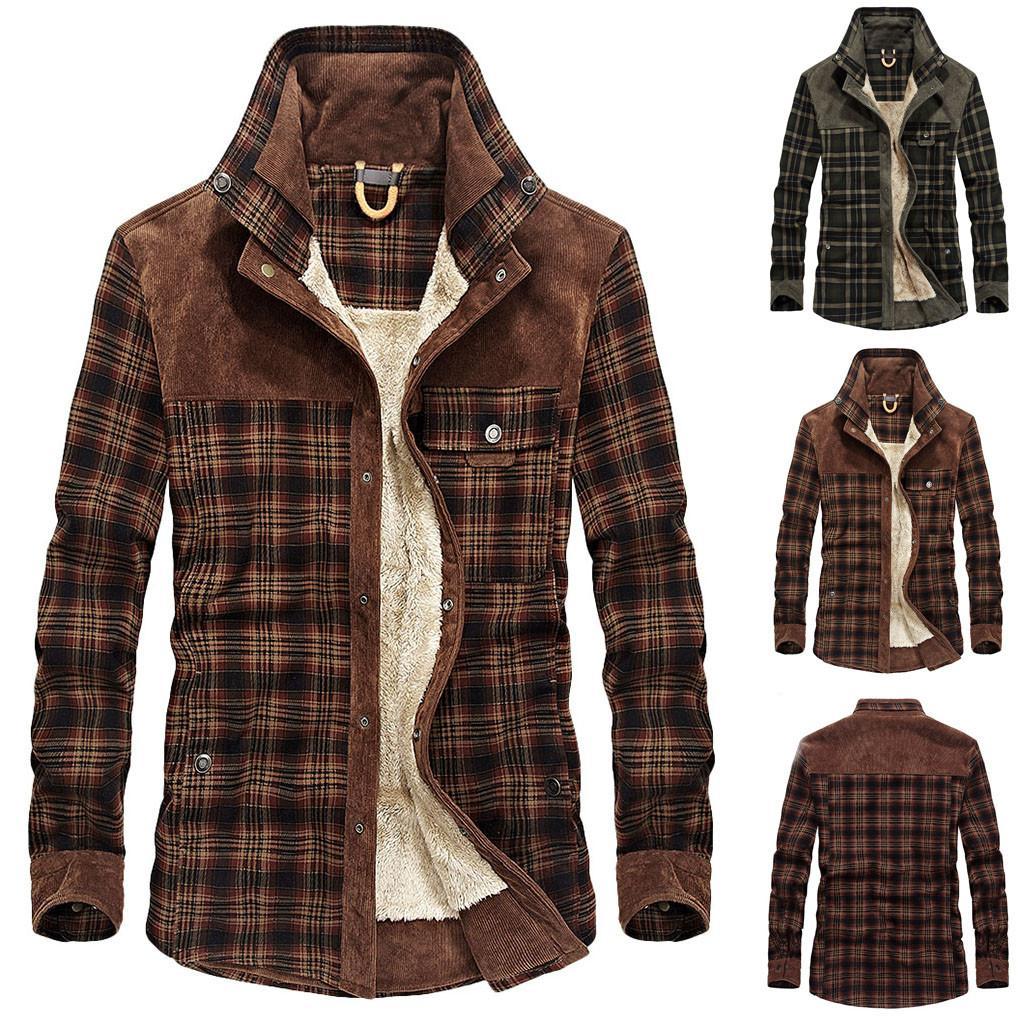Männer Jacke und Mantel Trendy warme Fleece-Jeansjacke Plaiddruck 2020 Winter Fashion Herren Jean-Jacke Outwear Male Gitter