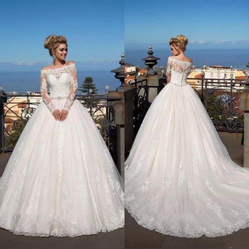 Longo mangas de renda apliques A linha de vestidos de casamento 2020 Cristal cintura Sash Garden Modest vestidos de noiva sob encomenda Garden Vestidos De Casamento