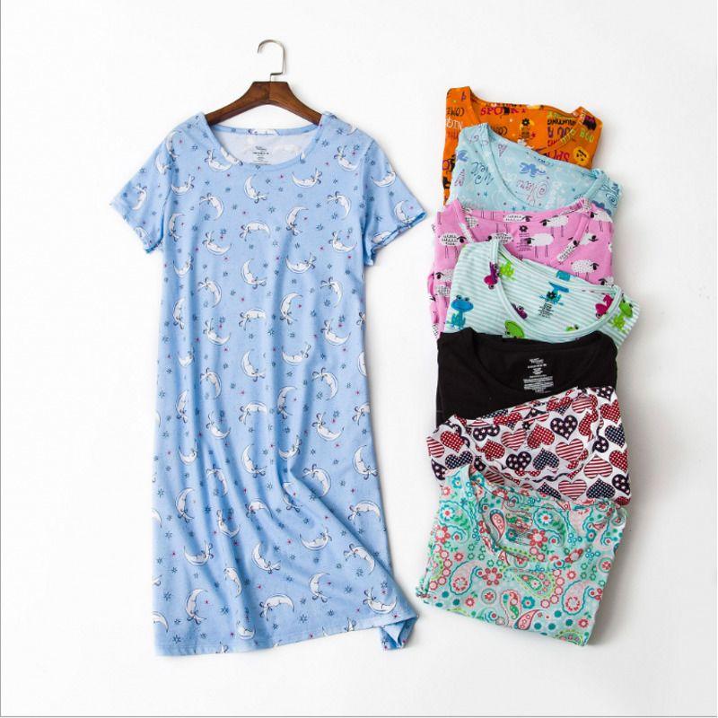 Summer Brand Homewear Women Casual Cartoon Nightgown Ladies 100%cotton Nightdress Female Round Collar Plus Size Sleep Dress Q190517