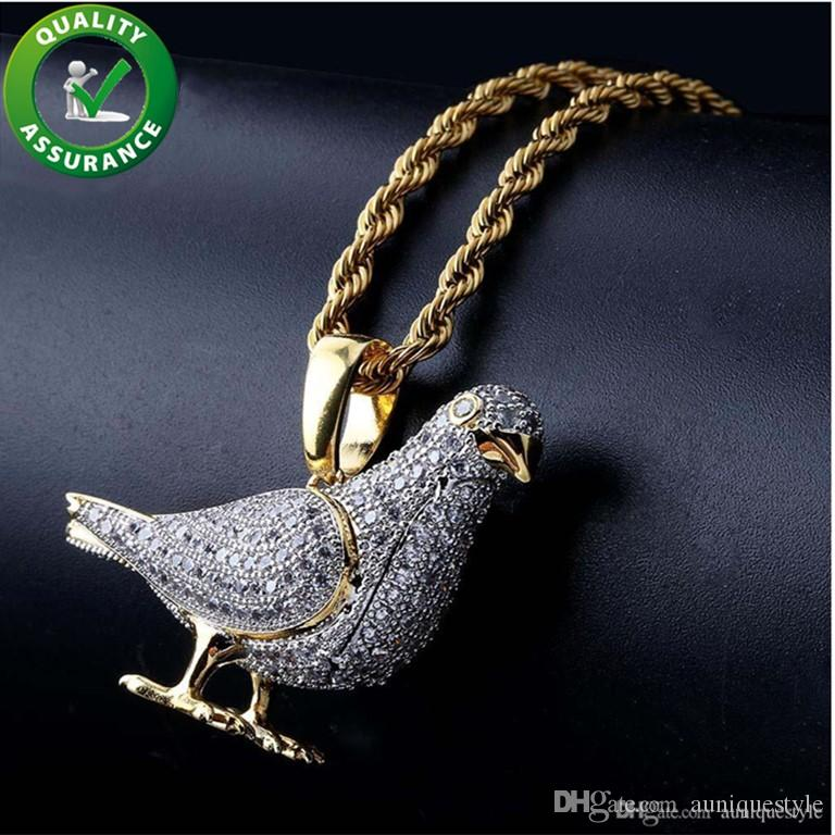 Hip Hop Bling Chains Jewelry Men Iced Out Pendant Designer Necklace Diamond Pigeon Rapper Chain Luxury Necklaces Hiphop Jewelry Fashion Gift