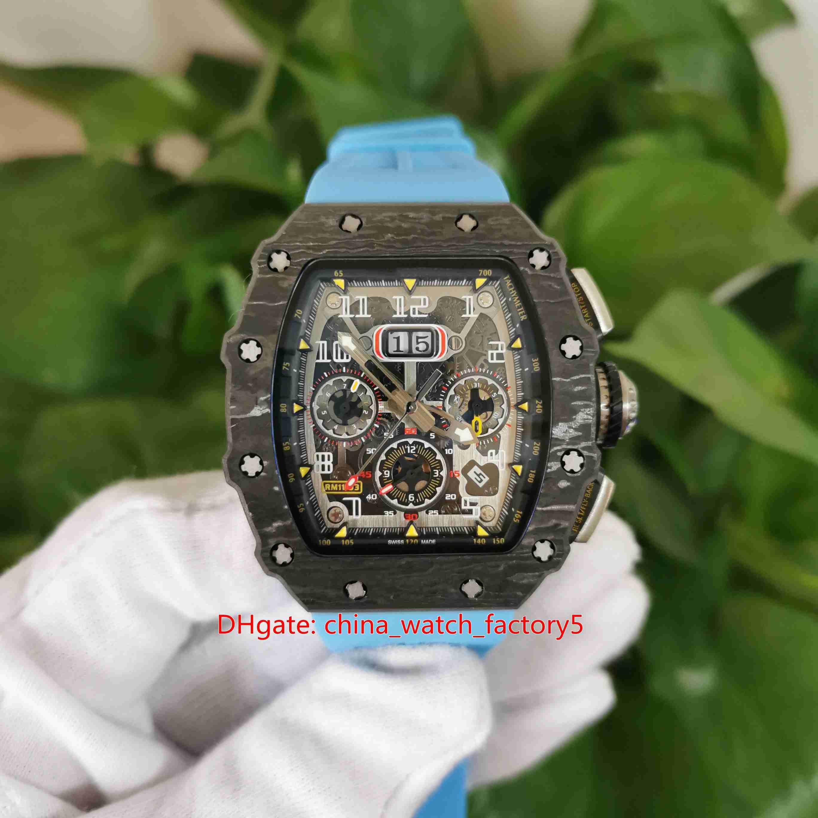 Горячие предметы высочайшего качества часы 50 мм х 40 мм RM11-03 RM 11-03 Flubback Скелетные наручные часы резиновые полосы механические автоматические мужские мужские часы