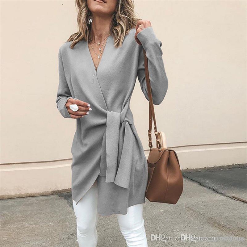 Женщины осень чистый цвет куртки модельер V образным вырезом пальто повседневная Открытая строчка с регулируемой талией