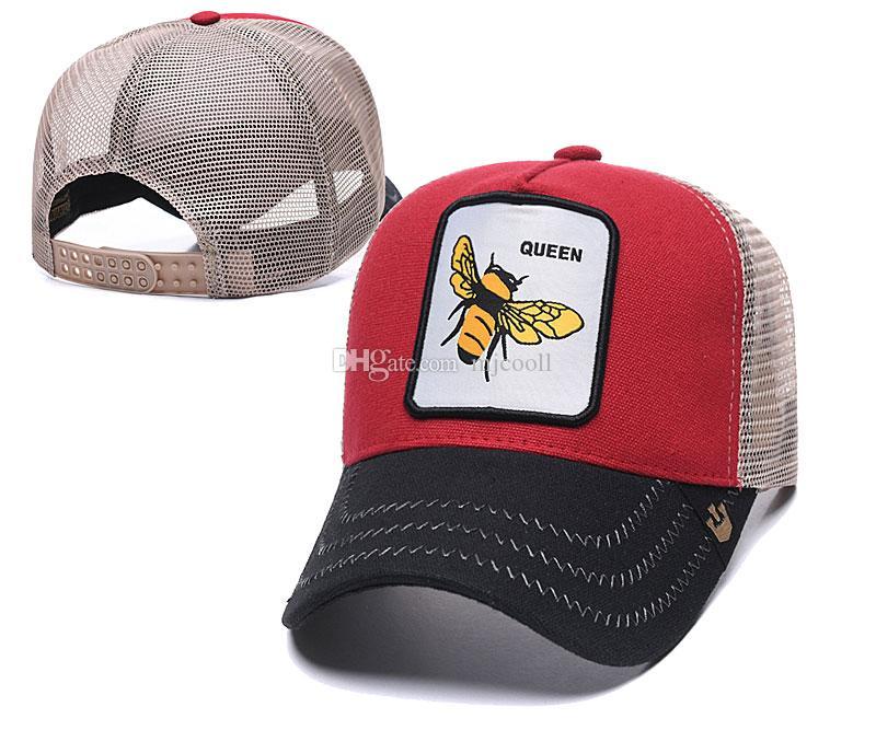 Sommer-Netzkappen Mode Visor Netz Hutfrauen Männer Bienenkönigin-Stickerei-Baseballmütze Einstellbare Snapback Tiere Hat Golf-Ball-Kappe
