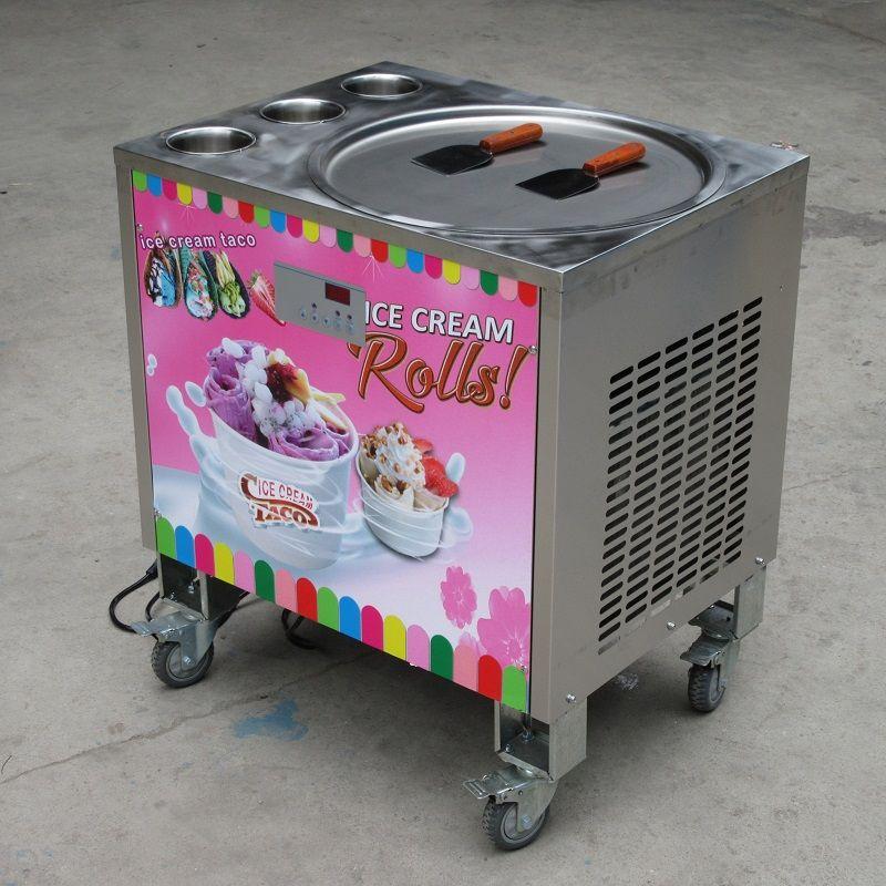 Libera la spedizione 50cm singolo turno pan + 3 serbatoi fritti roll macchina macchina del gelato / frittura gelato, sbrinamento automatico, PCB di intelligente Temp AI. controllore