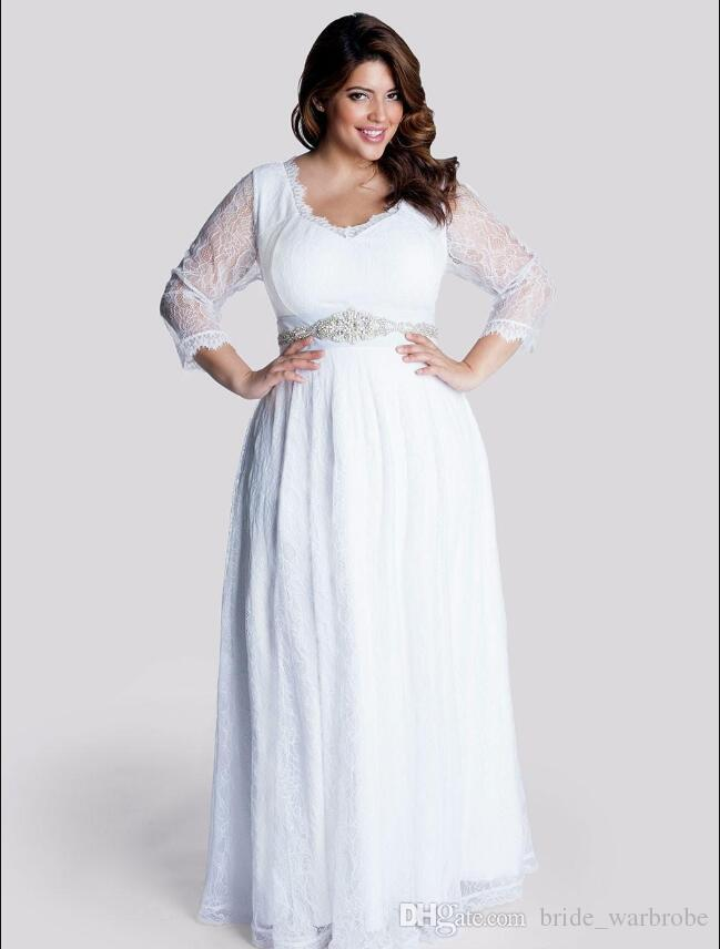 Beads Crystal Sash Transparent Lace Plus Size v neck Pregnant Women Three Quarter Sleeves Modest Wedding Dresses Baby Shower Bridal Gowns