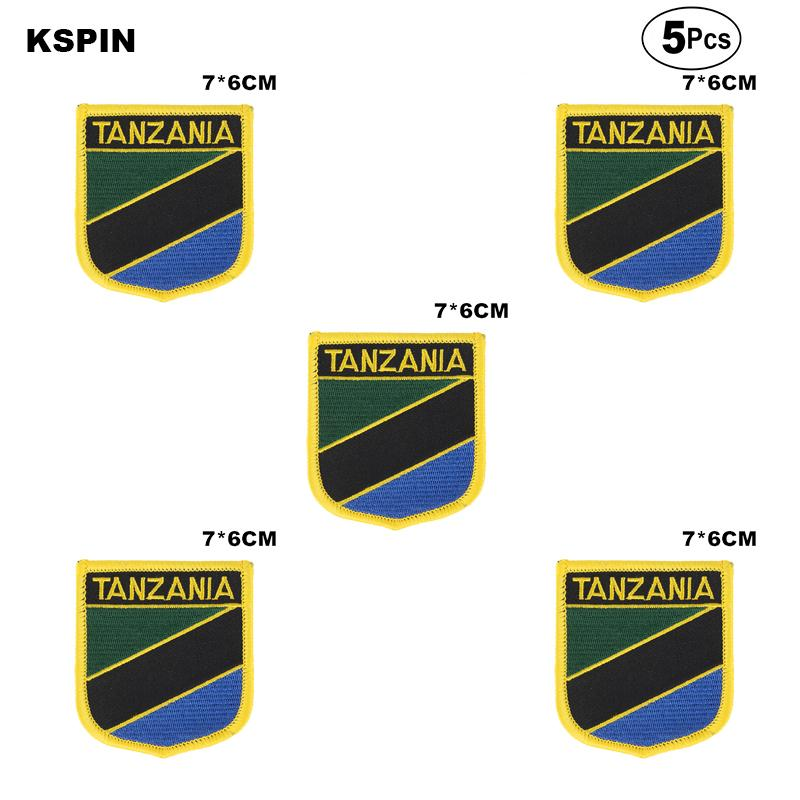 Bandeira de Tanzânia Remendos ferro em Serra sobre Transferência de patches de Aplicações de costura de roupas em HomeGarden