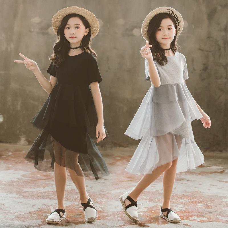 Дети одеваются 3y-12y девушка платье с коротким рукавом лето торт платье круглый воротник сетки Детские платья