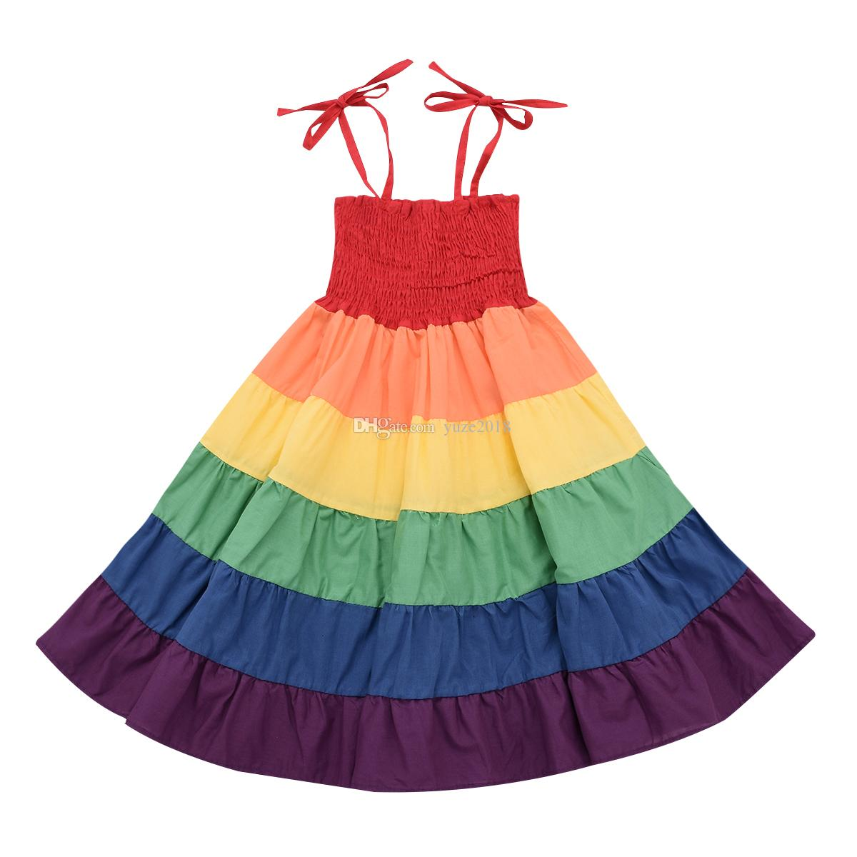 Toddler Infant Baby Girls Summer Sleeveless Rainbow Dress Tulle Dresses Clothes