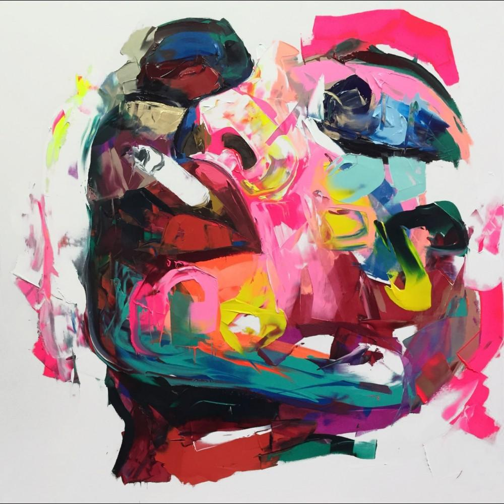 Francoise Nielly Palette Knife Impression Home Artworks Modern Portrait Handmade Oil Painting on Canvas Concave and Convex Texture Face005