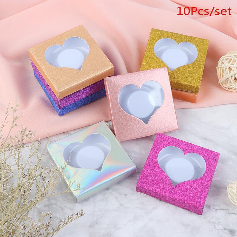 100pcs Imballaggio Confezione di ciglia finte Vuotare pacchetto multicolore scatola di carta vassoio bianco