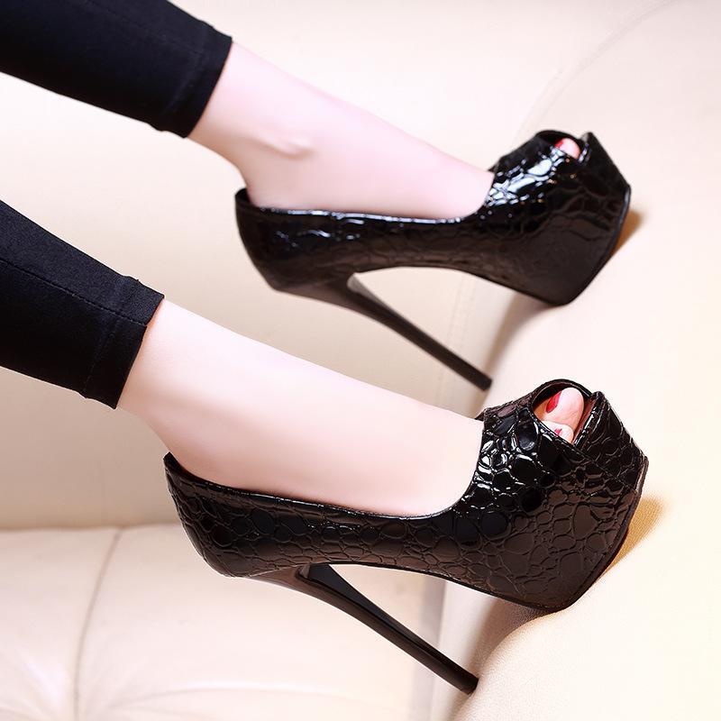 Talones de las mujeres atan para arriba zapatos naranja atractiva del oro de la bomba marca Bombas 2019 sandalias de las señoras Boca baja del peep toe de deslizamiento desnuda OM blanco