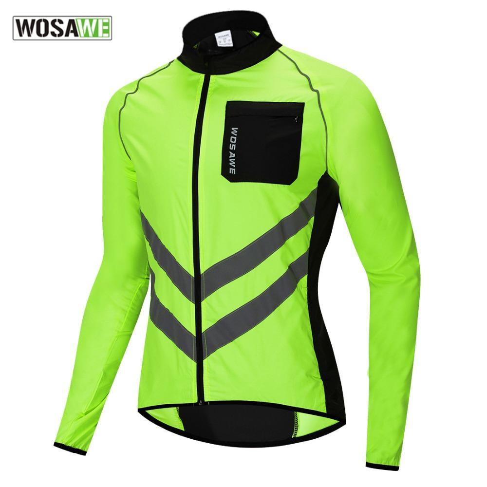 WOSAWE Männer Windjacke Reflektierende Jacke windundurchlässiges Radjacke Frauen Regenschutz MTB Straßen-Fahrrad High Visibility Regen