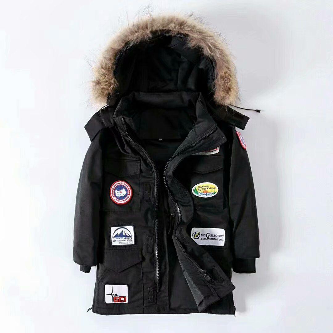 2020 Canadian высокого класса на открытом воздухе случайные вниз куртка мужчин утолщение плюс жира большого размера долго теплая куртка енот меховой воротник быстрая доставка
