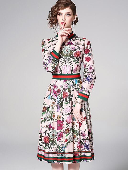 Платья с принтом Flora Плиссированное платье с принтом на талию Весеннее и летнее мини-платье с длинным рукавом Сексуальная юбка А-силуэта длиной до колен