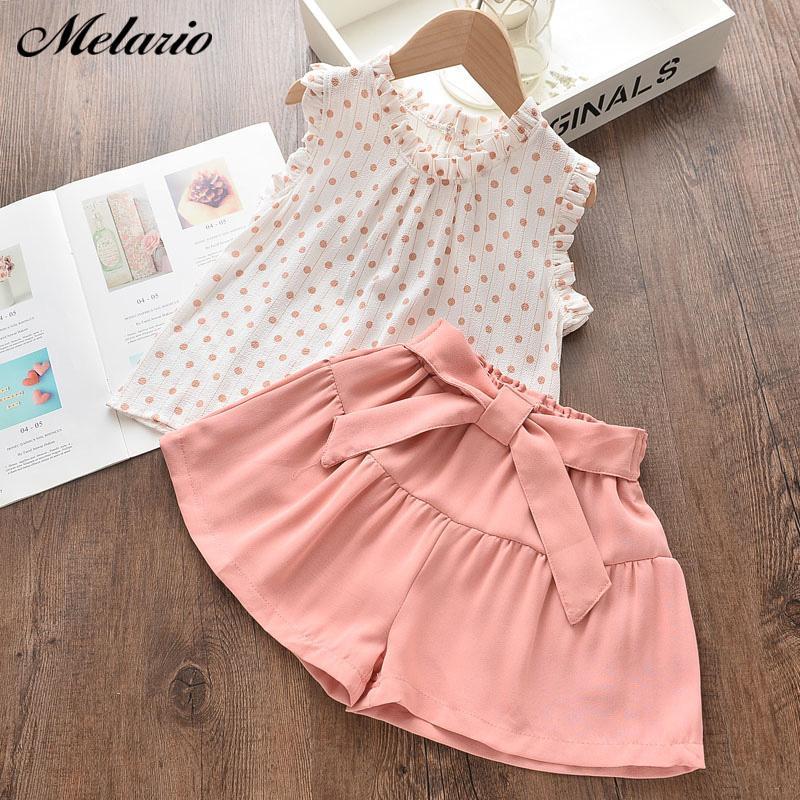 Melario Kız Giyim Setleri Yaz Bebek Kız Giyim Yeni Dot Tişört Pantolon 2adet Suit Casual Çocuk Giyim Kız Kıyafet T200526