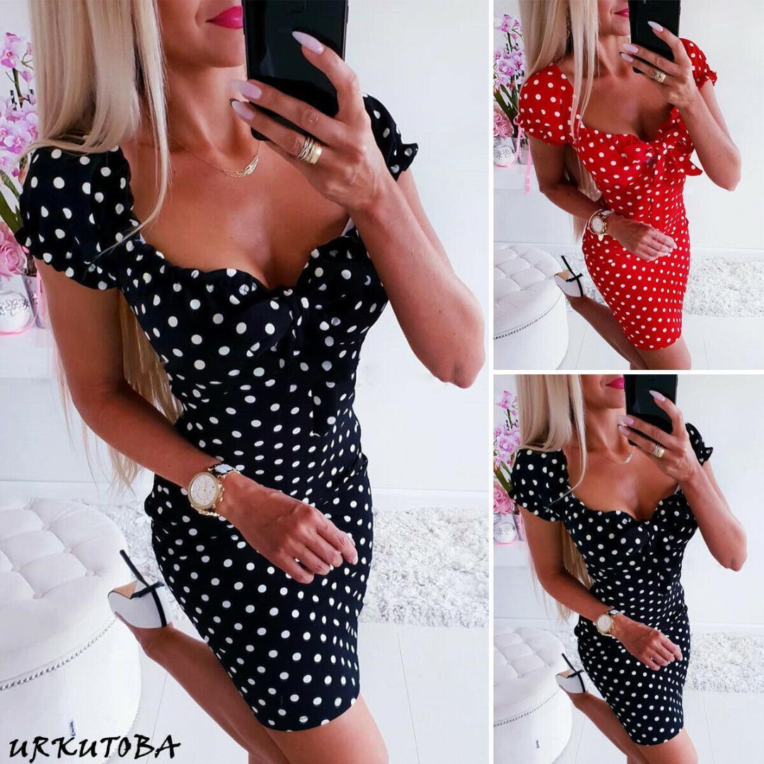 Moda-2019 mais novo hot mulheres boho polka dot impresso sexy bow bodycon dress férias de verão vestido de verão beachwear mini dress