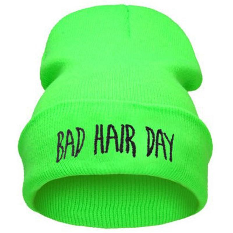 Fall Winter Fashion Bad Hair Day Hiphop Caps Knit Beanie Hat For Women Men Green Black Gray Blue Pink NEON YELLOW GREEN