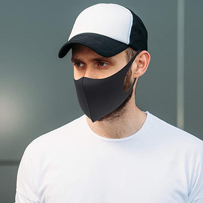 Регулируемая маска для лица черного хлопка Рта маски муфельной маски для Велоспорта Отдых Путешествия моющейся многоразовой ткани Маски Анти пыли