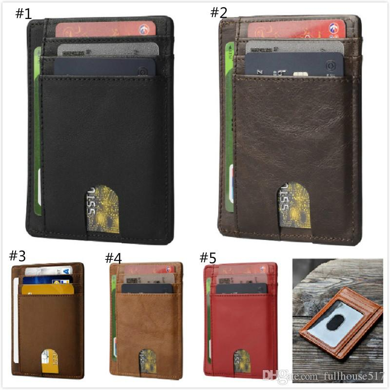 Slim Front Pocket Genuine Leather Wallet Men Card Holder Minimalist Ultra Thin