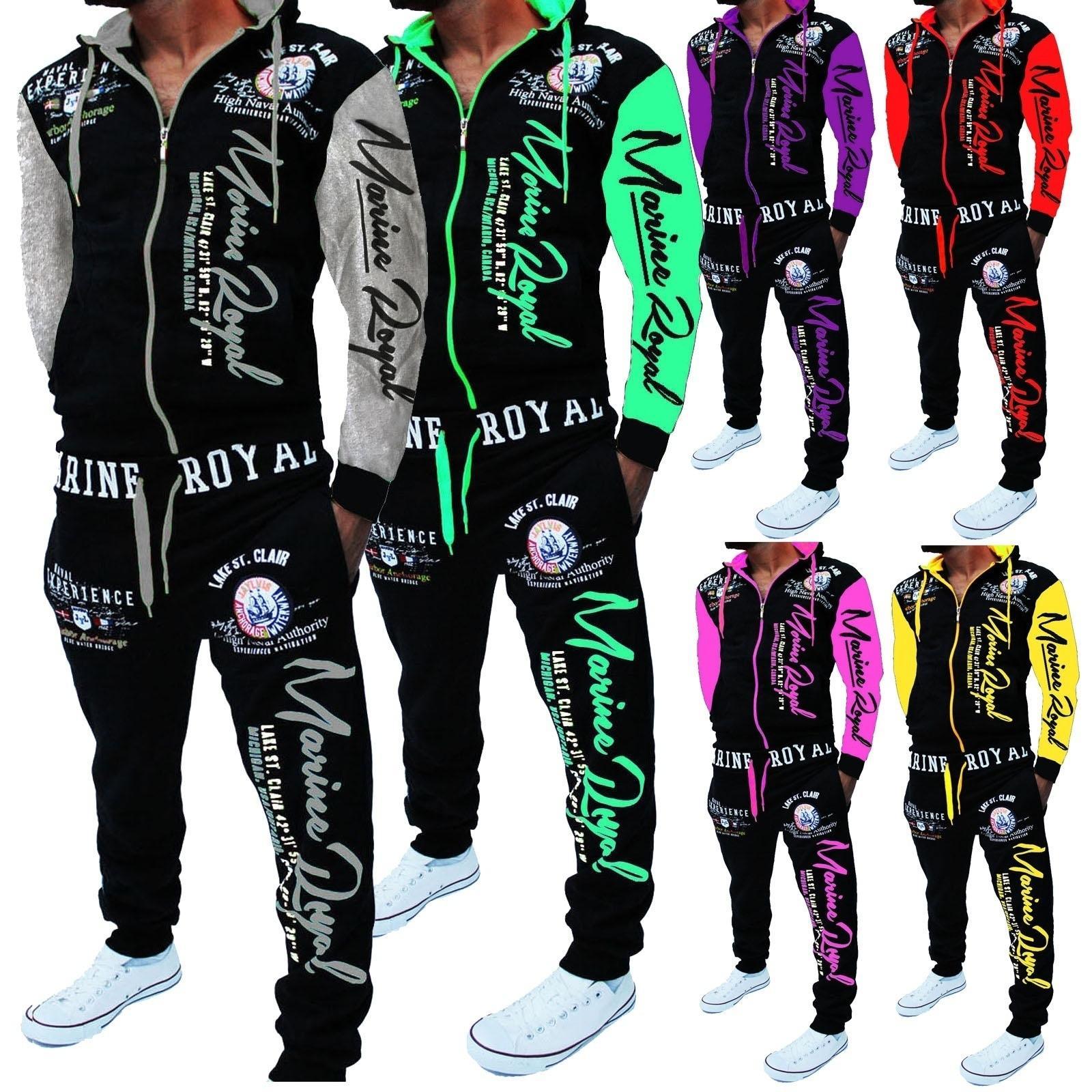 Случайные Мужские костюмы Осень Мужчины пиджаков + Joggers 2 шт Набор Letter Printed свитера Tracksuit мужские Спортивный костюм