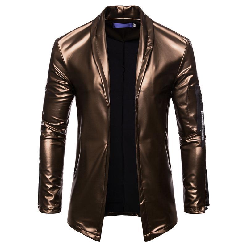 Night Club Veste en cuir Hommes Mode Slim Fit Moto Veste en cuir d'or / argent Blazer Homme PU Manteau Vêtements, PY51