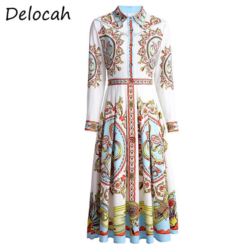 Delocah Spring Dress Fashion Ruwan manica lunga di cristallo splendido perline stampato Elegan femmina sottile Midi Abiti Vestidos