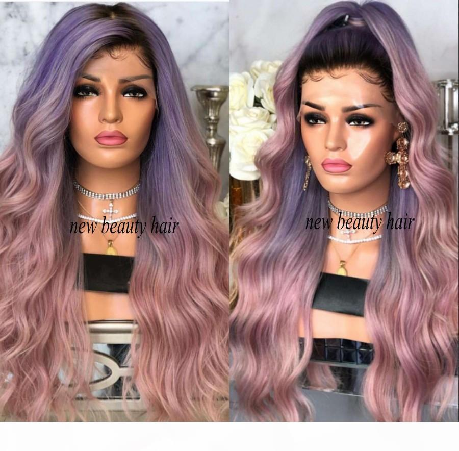 2019 nueva celebridad de la manera del estilo de peluca sintética raíces negras ombre rosa púrpura sintética del frente del cordón peluca de pelo calor resistente para las mujeres