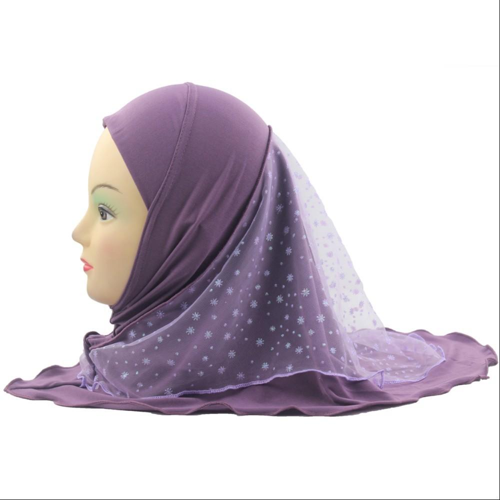 10pcs Girls Kids Muslim Hijab Islamic Arab Scarf Shawls Beautiful Lace Snow Pattern for 2 to 7 years old Girls Wholesale