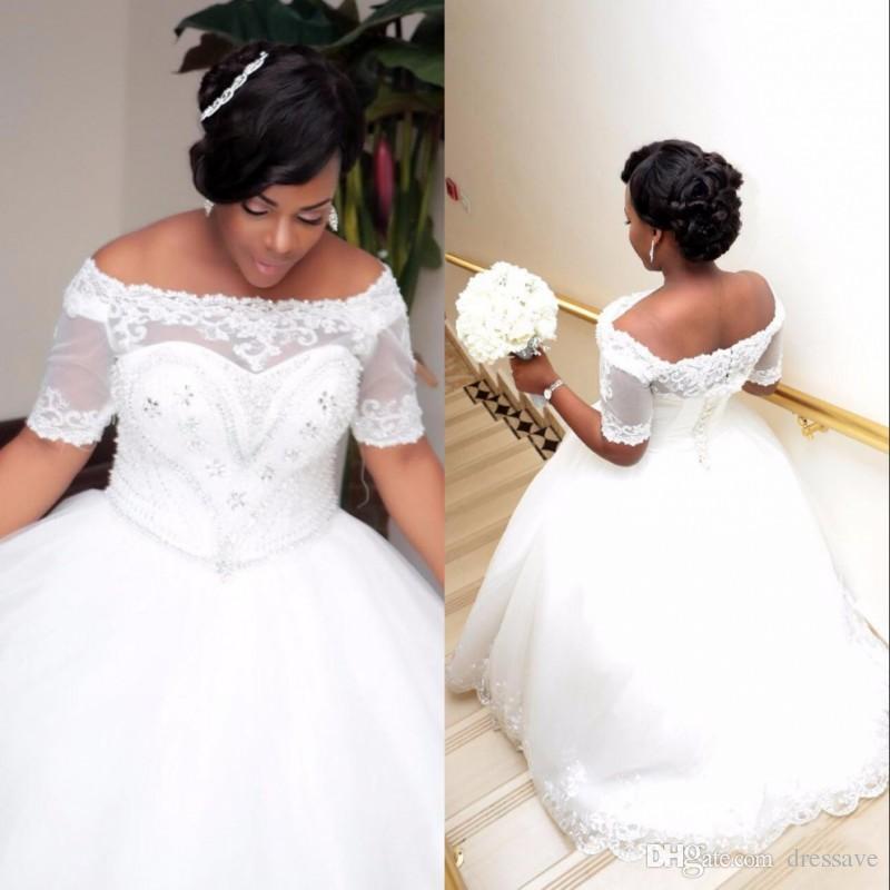 Африканский плюс размер белый слоновая кость бальное платье Свадебные платья с короткими рукавами шнуровка лодка шеи бисером кристаллы свадебные платья