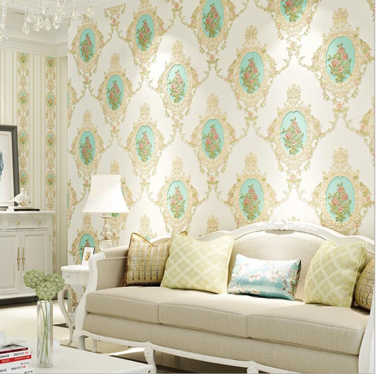 Modern Pastoral Floral Damask Wallpaper Roll Bedroom Living Room Wall Paper Non woven Wall Cover Interior Home Decor