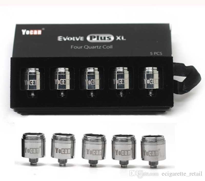 Alta qualità Yocan Evolve Inoltre XL Bobine E Cigarette QUAD Quatz Rod Coil Capo Nucleo per Dab Wax Spesso olio Vape Pen vaporizzatore Kit