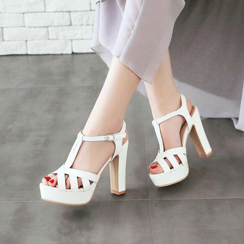 Schwarz, Rosa, Weiß Beige-Absatz-Sandelholz Mode Peep Toe-Block Absatz-Plattform-Gladiator-Sandalen Partei beiläufig Sommer-Schuhe