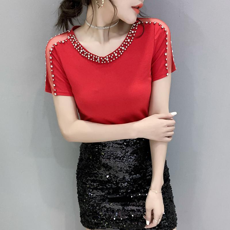 Летняя мода корейской одежды футболки Sexy с плеча Бисероплетение Женщины Топы Ropa Mujer с коротким рукавом Хлопок Тис 2020 Новый T03901 T200525