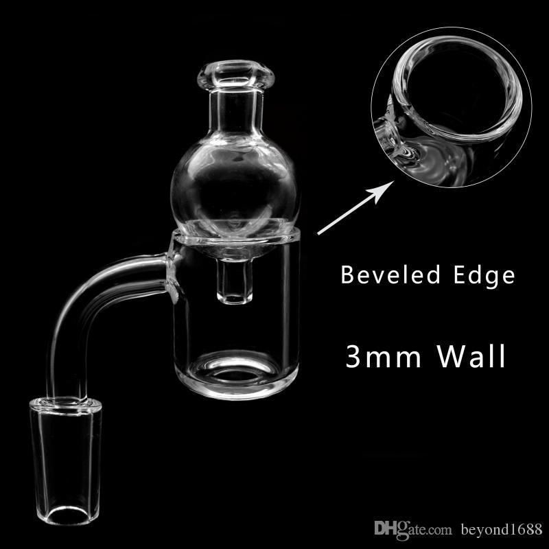 Beracky Beveled Edge 3mm Quartz Banger With Glass Bubble Carb Cap 10mm 14mm 18mm Male Female 45/90 Quartz Nails For Glass Bongs