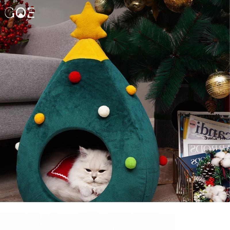 Pet Cat Dog House питомник щенок пещера спальная кровать Рождественская елка форма зимняя теплая кровать для кошек собака Cama Para Cachorro