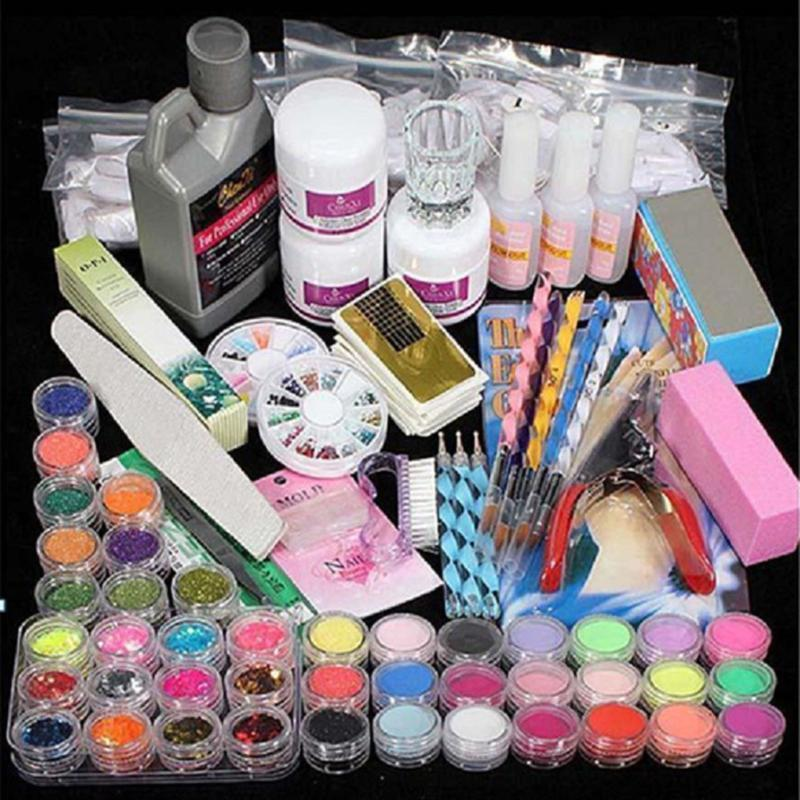 Acrylique liquide poudre Glitter Professional Clipper Primer Nail Art File Tool Tips Outils Brush Set Kit