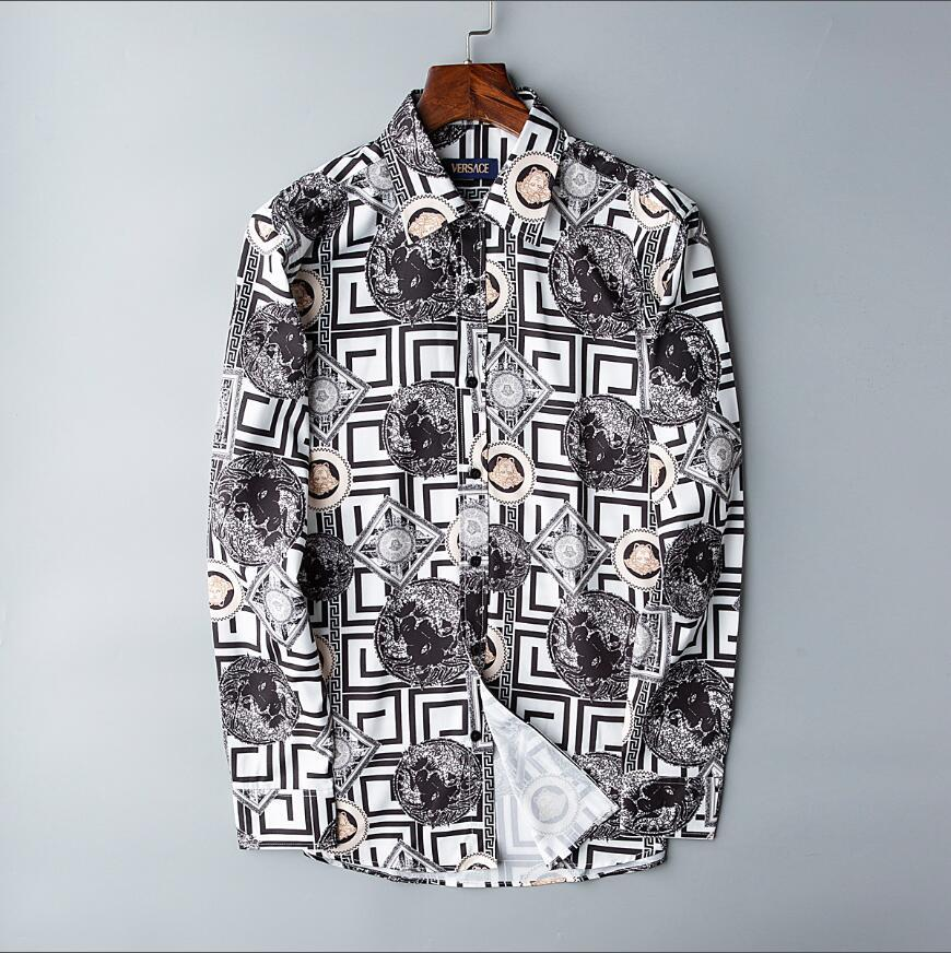 2020 autumn and winter men's long-sleeved Dress shirt pure men's casual shirt fashion Oxford shirt social brand clothing #0192 Men's shirts