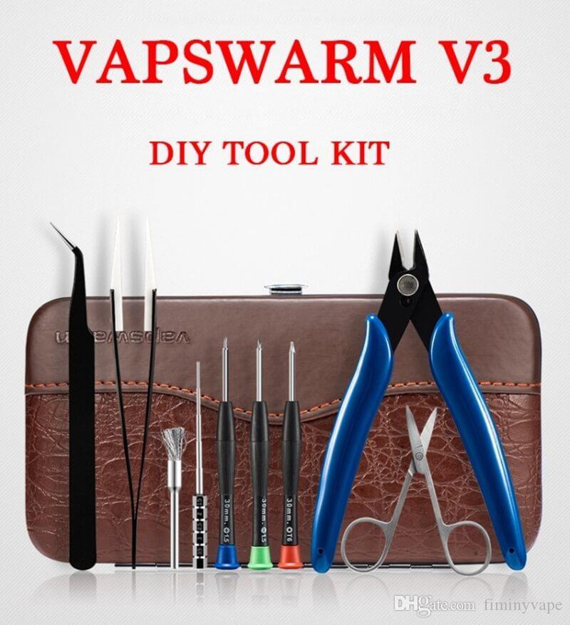 Vapswarm V3 E sigara aracı kiti başlangıç kitleri DIY rda Rba yapı Bobin jig Allen tornavida makas pense cımbız Fırça taşıma çantası