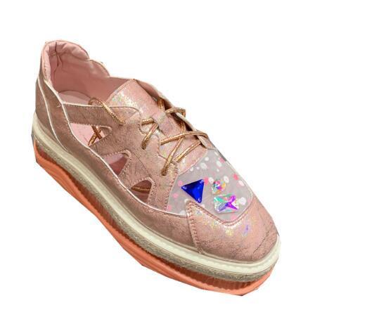 Scarpe per il tempo libero di colore di colore della caramella gelatina fondo spesso fondo spugna fondo piatto allacciatura traspirante sandali scarpe da donna moda